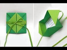 Origami envelope with flower. Origami envelope for gift card. Origami Envelope Easy, Origami Simple, Origami Gift Box, Diy Origami Cards, Origami Bookmark, Origami Paper, Kirigami, Origami Christmas Star, Origami Youtube
