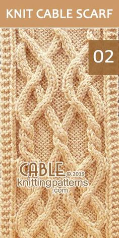 Twin Celtic Cable Scarf Pattern 02. Skill level: Intermediate knitter and up.