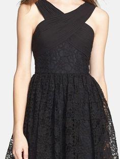 Cross Neck Lace Fit & Flare Dress