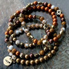 Maak deze schitterende set armbanden met onze glitterline natuursteen kralen en glaskralen Pearl shine!