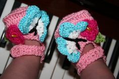Handmade knitted baby pink shoes baby booties with by ManCrochets, $14.00