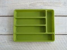 Vintage Flatware Tray ~ Silverware Drawer Organizer ~ 70s Avacado Green Cutlery Utensil Divider by RetrOAmyO on Etsy
