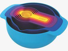 Joseph Joseph Nest Plus 7 Piece Nesting Mixing Bowls and Measuring Set Funky Kitchen, Home Styles Exterior, Joseph Joseph, Mixing Bowls, Food Preparation, Kitchen Gadgets, Bowl Set, Kitchenware, House Styles