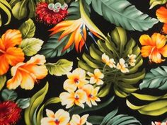 Sku #:LMH-09-646-Black  Tropical floral from Trans Pacific	Price: $8.25 per yard	  	  Trans-Pacific fabric. This cotton fabric feels silky to the touch. Great for clothing, and also a great fabric for quilting. Kawai (cute)!