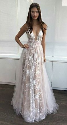 Sexy Prom Dresses Deep V-Neck Lace Appliques A-line Layers Evening Gowns