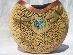 Filigree canteen gourd with dragonflies by Angie Kilby
