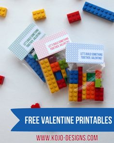 free printable valentines- 'let's build something together' lego labels