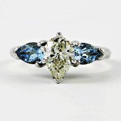 Diamond and Aquamarine Wedding Set | Perry's Fine Antique & Estate Jewelry