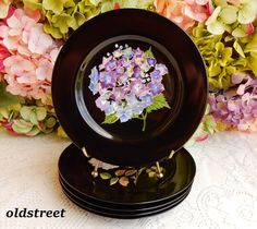 5 Tiffany & Co Mrs Delany's Flowers Porcelain Salad Plates ~ Floral Black