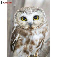 HUACAN 5D Diamond Painting Birds Owl