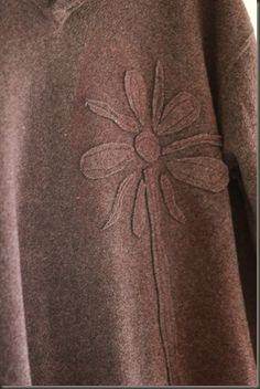 Fleece sweater flowers; I like the tone on tone look, maybe with contrast stitching