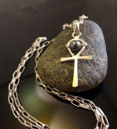 Egyptian Ankh & Hematite Necklace, Handmade, .925 Sterling, 20 inches long #Handmade #Pendant