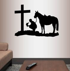 Wall Vinyl Decal Home Decor Art Sticker Cowboy Praying Kneeling Cross Horse Western Bedroom living Room Removable Stylish Mural Unique Design In-Style Decals http://www.amazon.com/dp/B010TTJBDI/ref=cm_sw_r_pi_dp_5Bv9wb011XC46