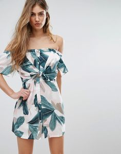 Buy it now. Missguided Tropical Print Bardot Dress - Multi. Dress by Missguided, Woven fabric, Stretch bardot neck, Tropical print, Button placket, Knot front, Regular fit - true to size, Machine wash, 100% Polyester, Our model wears a UK 8/EU 36/US 4 and is 168cm/5'6 tall. ABOUT MISSGUIDED With an eye on the catwalks and hottest gals around, Missguided's in-house team design for the dreamers, believers and night lovers. Taking the risks no one else dares to, its bodycon dresses, crop tops…
