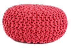 Jacie Knit-Cable Pouf, Red on OneKingsLane.com