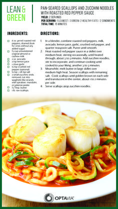 Pan Seared Scallops and Zucchini Noodles with Roasted Red Pepper Sauce optavia Fish Recipes, Seafood Recipes, Cooking Recipes, Freezer Recipes, Freezer Cooking, Drink Recipes, Medifast Recipes, Healthy Recipes, Keto Recipes