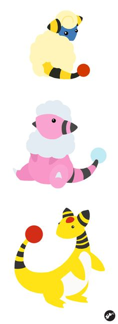 Mareep - Flaaffy - Ampharos by Nortiker on DeviantArt