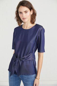 Silva (Tencel Dot) – Short Sleeve – Amour Vert Sustainable Fabrics, Sustainable Fashion, Ethical Fashion, Fashion Brands, Ethical Brands, Made Clothing, Blouses For Women, Dots, Short Sleeves