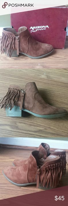 """Booties Chestnut colored Fringe ankle booties Suede like upper man made 2 1/4"""" heel height Color is best shown in 3rd picture Fit true to size Arizona Jean Company Shoes Ankle Boots & Booties"""