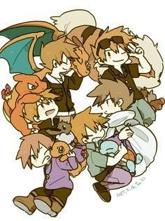 Green Pokemon, Cute Pokemon, Pokemon Human Characters, Fictional Characters, Green Day, Blue Green, Gary Oak, Pikachu, Fan Art