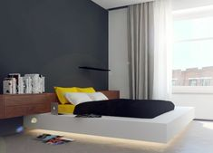 Mellow Yellow: 7 Soothing Apartments with Sunny Accents Furniture Decor, Modern Furniture, White Platform Bed, Small Bedroom Designs, Loft, Architect Design, Mellow Yellow, Beautiful Bedrooms, House Rooms