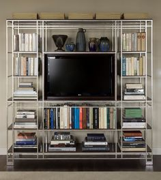 Showhouse, NYC. I gasp. Love the metal shelving unit.