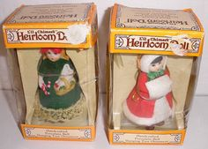 "2 Vintage Jasco ""L'il Chimers"" Heirloom Porcelain Bell Doll Ornaments"