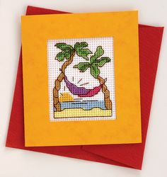 free cross stitch pattern hammock holiday paradise sunset palm trees desert island tropical beach vacation cross stitch chart