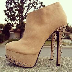 Taupe dazzle spiked booties