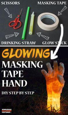DIY Masking Tape Hand Prop. Outdoor Halloween, Halloween Party, Disneyland Halloween, Haunted Garage, Halloween Decorations To Make, Wholesale Halloween Costumes, Diy Step By Step, Science Experiments Kids, Masking Tape