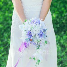 [AU$ 48.00] Simple And Elegant Cascade Satin/Artificial Silk Bridal Bouquets (123089005)
