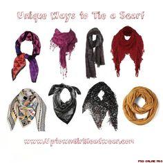 Unique ways to tie a scarf! :) Enjoy playing with your scarves! :)    www.UptownGirlHeadwear.com