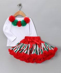 Take a look at this White Pom-Pom Tee & Red Pettiskirt  by Royal Gem Clothing on #zulily today!