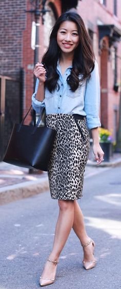 Animal Print And Chambray Outfit Idea by Extra Petite