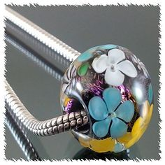 Handmade Lampwork 1 Bead--Flower Blossom--Dichroic--Big Hole Charm Bead--SRA