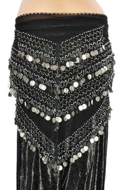 Egyptian Style Triangle Hip Scarf with Beads  Coins - BLACK / SILVER  http://www.bellydance.com/Egyptian-Style-Triangle-Hip-Scarf-with-Beads-Coins--BLACK-SILVER_p_5223.html