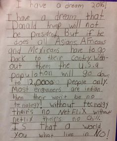 This Third Grader Just Dissed Donald Trump For President With Netflix and Chill Logic Funny Memes, Hilarious, Jokes, Funny Math, Donald Trump, Political Images, Political Cartoons, Social Networks, Humor