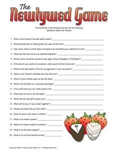 The Newlywed Game - this is actually a non barfy bridal shower game. Maybe with better questions tho Printable Bridal Shower Games, Wedding Shower Games, Wedding Games, Shower Party, Wedding Ideas, Bridal Shower Newlywed Game, Wedding Shower Decorations, Printable Party, Spa Party