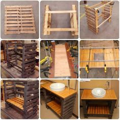 Image of: pallet furniture projects wooden pallets diy pallet 50 easy and useful pallet projects Pallet Bathroom, Bathroom Crafts, Diy Bathroom Vanity, Bathroom Ideas, Diy Pallet Vanity, Wooden Bathroom, Bathroom Shelves, Bathroom Wall, Bathroom Storage