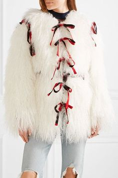 Sandy Liang - Lambeaux Convertible Shearling Coat - Ivory - FR38