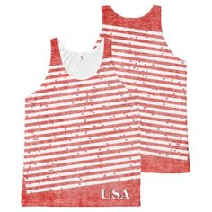 #monogrammed - #Personalize:  USA Red and White Patriotic Stripes All-Over-Print Tank Top