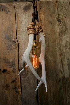 Antler Pendant Light Rope Light Hanging light by MoonStoneFox