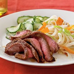 Maple and Soy-Glazed Flank Steak . Make use of a budget-friendly cut of meat by marinating in a rich Asian marinade, which serves double-duty in this recipe. Serve this flank steak recipe with a cold cucumber salad for a complete meal. Easy Romantic Dinner, Romantic Dinner Recipes, Healthy Dinner Recipes, Dinner Ideas, Healthy Dinners, Lunch Recipes, Meal Ideas, Flank Steak Recipes, Beef Recipes