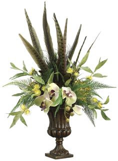 Phalaenopsis Orchid, Feather and Protea Arrangement