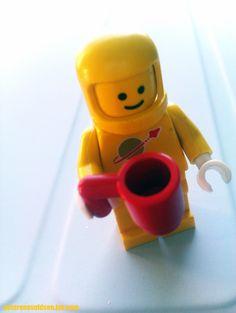 Old school coffee drinking LEGO astronaut.