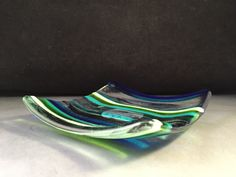 A personal favorite from my Etsy shop https://www.etsy.com/listing/463612415/multi-strip-square-glass-handmade-dish