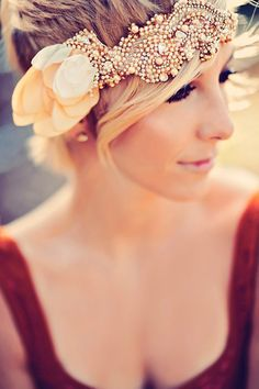 Want. Gold Bridal Bandeau, Wedding Hairpiece, Bridal Headband, Swarovski Crystal Rhinestone via Etsy