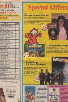 One of the very first QVC / HSN shopping opportunities in my young life.  I remember marking off the ones I wanted and then pleading with mom to buy them.  I remember 1 book in particular, it was a kids cooking book of about 20 pages, simple drawings and recipes for adding fresh fruit to your cereal.