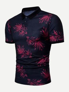 Fashion Tropical Leaf Printed Short Sleeve Stretch Fitted Polo Shirt for Men - lilli Printed Polo Shirts, Printed Shorts, Le Polo, Camisa Polo, T Shirt Diy, Shirt Men, How To Look Classy, Golf Shirts, Mens Fashion