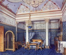 The Suite of Empress Alexandra Feodorovna at the Winter Palace in Saint Petersburg, Bedchamber depicted in gouache by court painters c. Alexandra Feodorovna, Romanov Palace, House Of Romanov, Imperial Palace, Imperial Russia, Palace Interior, Russian Architecture, Baroque Architecture, Winter Palace
